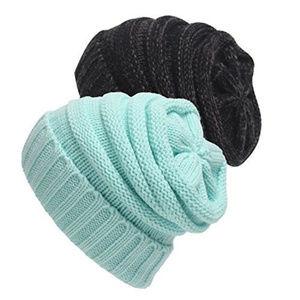 Senker louchy Beanie Cap Knit Soft Cozy Cabl Hats